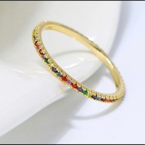 Jewelry - Stamped 925 Sterling Silver Multicolor Gold Ring